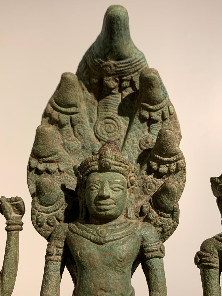 Khmer Bronze Buddhist Triad, Style of the Bayon, 12th-13th Century, Cambodia For Sale 4