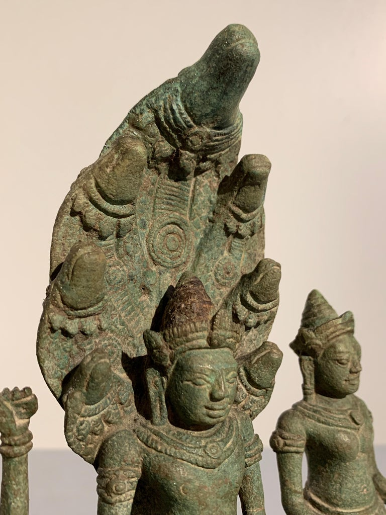 Khmer Bronze Buddhist Triad, Style of the Bayon, 12th-13th Century, Cambodia For Sale 5