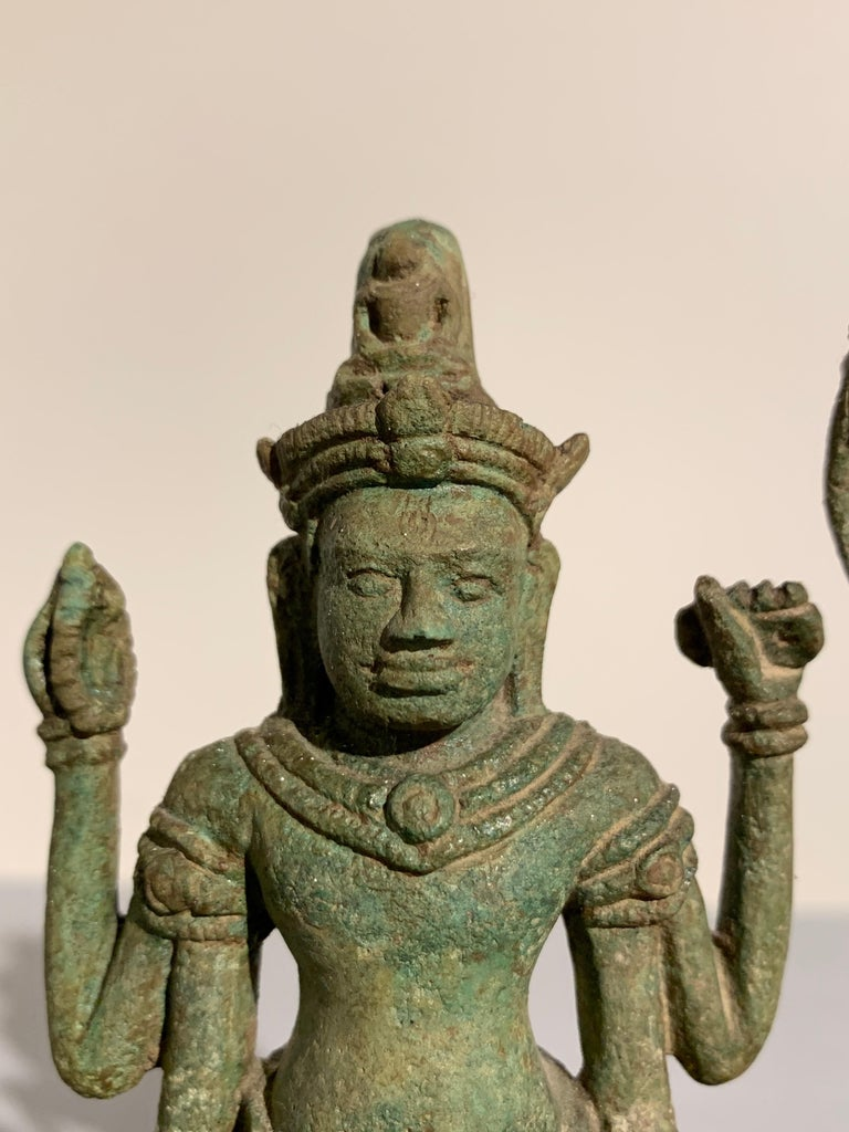 Khmer Bronze Buddhist Triad, Style of the Bayon, 12th-13th Century, Cambodia For Sale 6