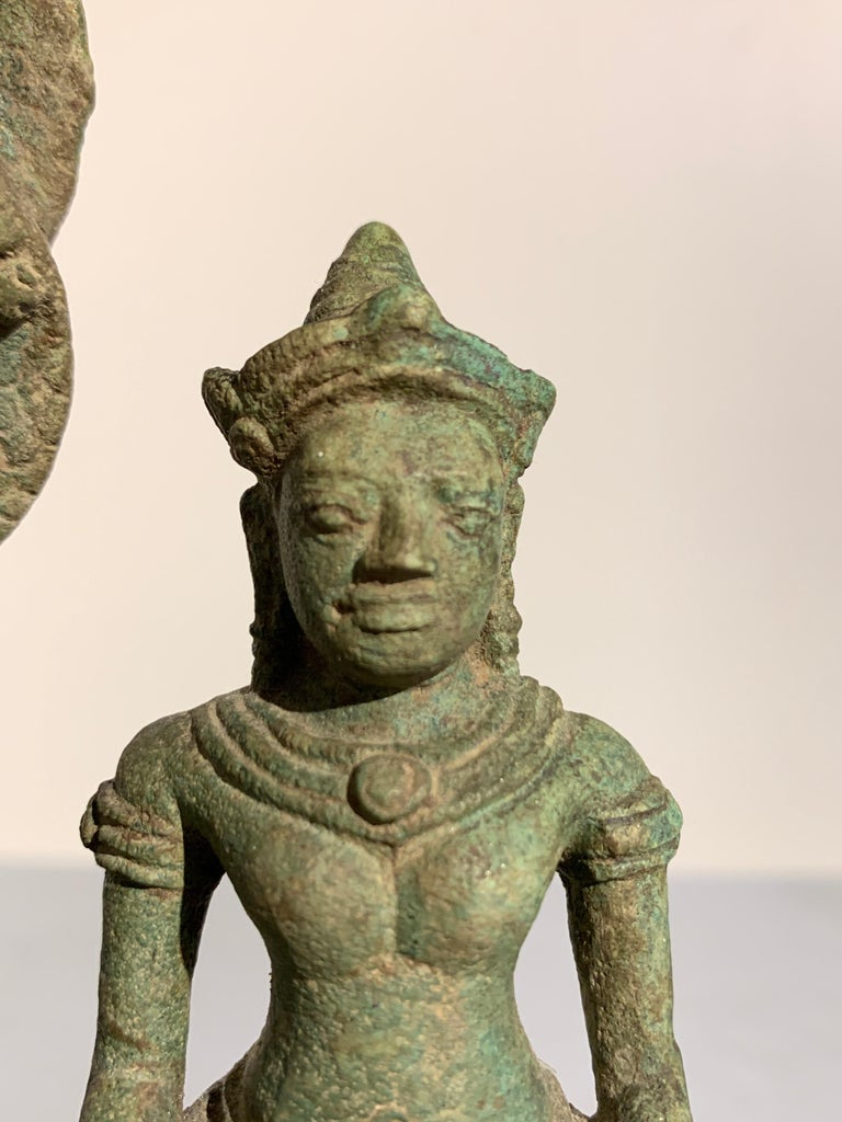 Khmer Bronze Buddhist Triad, Style of the Bayon, 12th-13th Century, Cambodia For Sale 7