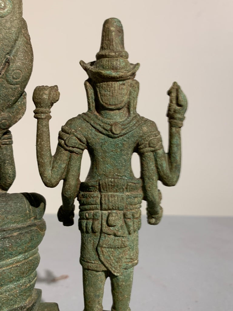 Khmer Bronze Buddhist Triad, Style of the Bayon, 12th-13th Century, Cambodia For Sale 10