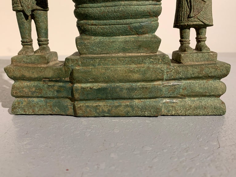 Khmer Bronze Buddhist Triad, Style of the Bayon, 12th-13th Century, Cambodia For Sale 12