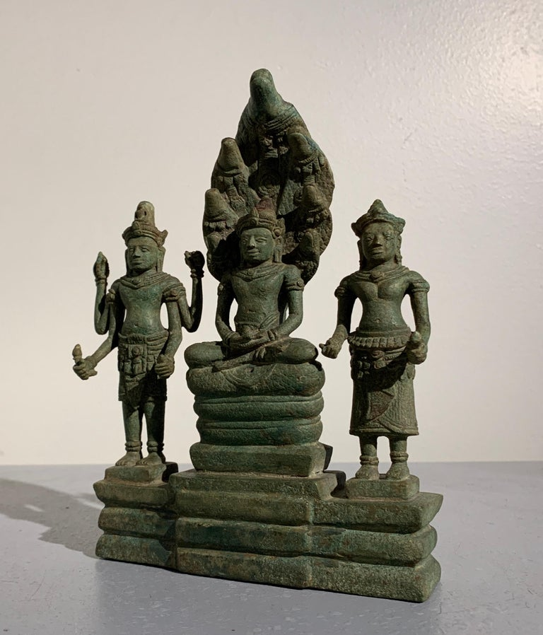 Cambodian Khmer Bronze Buddhist Triad, Style of the Bayon, 12th-13th Century, Cambodia For Sale