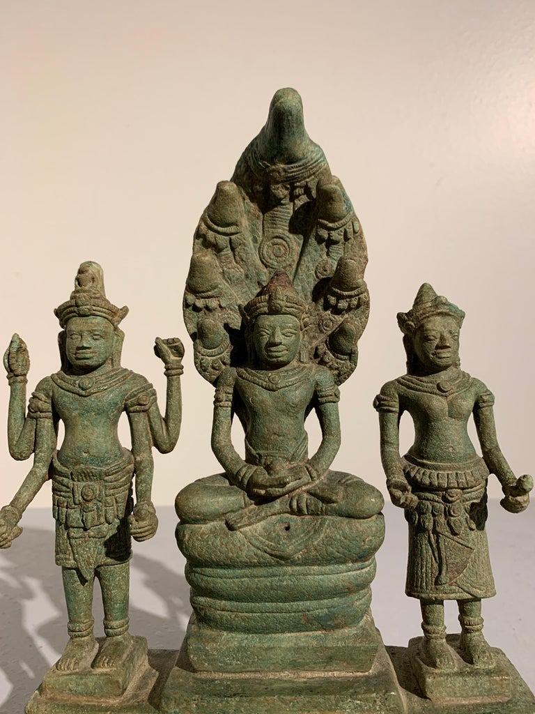 Khmer Bronze Buddhist Triad, Style of the Bayon, 12th-13th Century, Cambodia In Fair Condition For Sale In Austin, TX