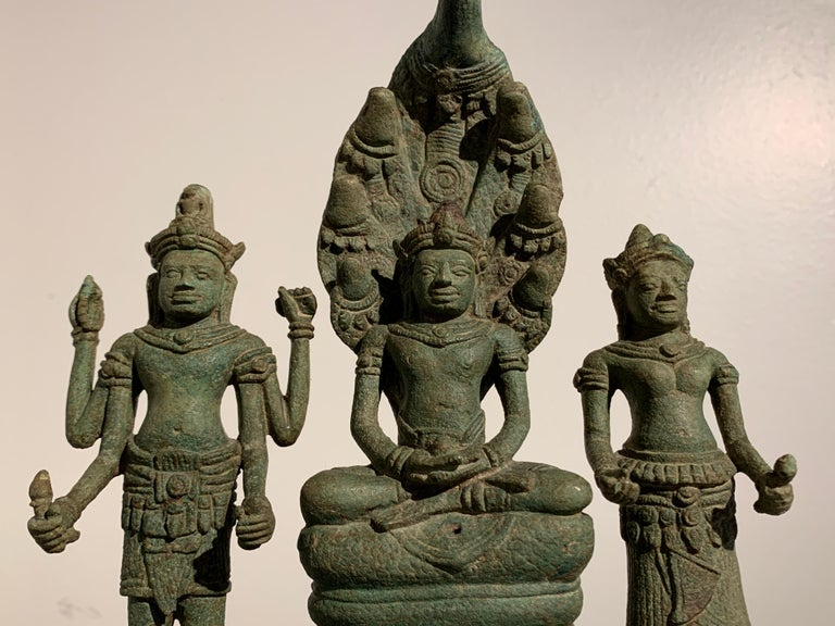 18th Century and Earlier Khmer Bronze Buddhist Triad, Style of the Bayon, 12th-13th Century, Cambodia For Sale
