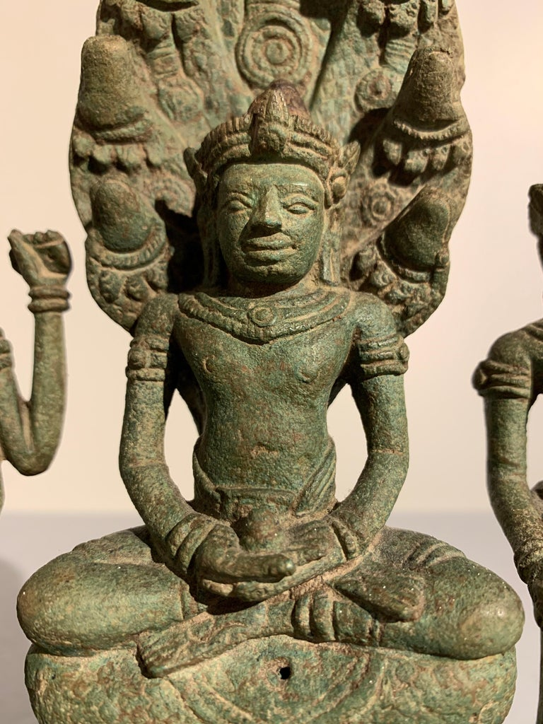 Khmer Bronze Buddhist Triad, Style of the Bayon, 12th-13th Century, Cambodia For Sale 1