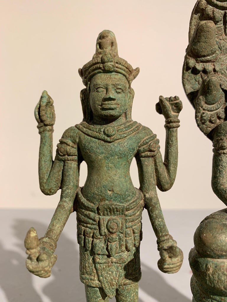 Khmer Bronze Buddhist Triad, Style of the Bayon, 12th-13th Century, Cambodia For Sale 2