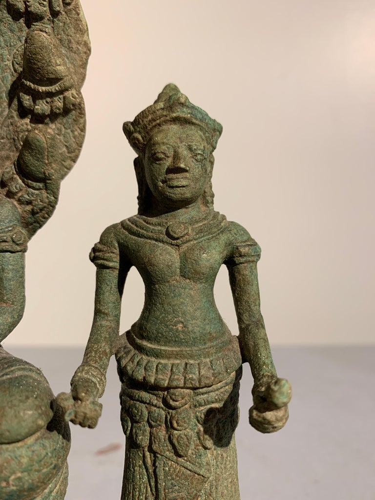 Khmer Bronze Buddhist Triad, Style of the Bayon, 12th-13th Century, Cambodia For Sale 3