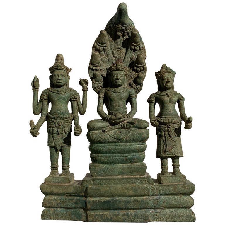 Khmer Bronze Buddhist Triad, Style of the Bayon, 12th-13th Century, Cambodia For Sale