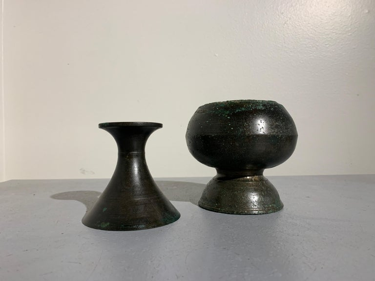 Caning Khmer Bronze Two Part Bottle Vase, Angkor Period, 12th-14th Century For Sale