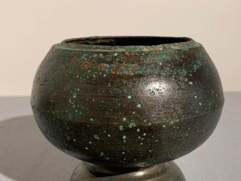 Khmer Bronze Two Part Bottle Vase, Angkor Period, 12th-14th Century For Sale 1