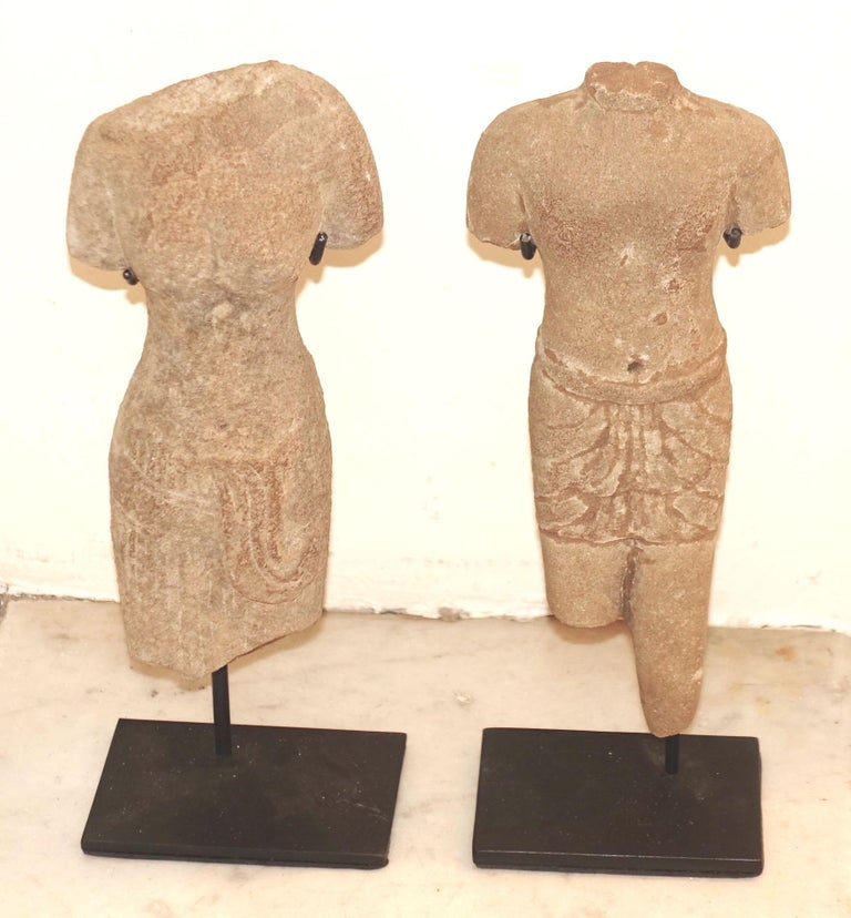 Contemporary Cambodian terracotta female stone figure on stand. Natural patina. Male figure also available S5135. Stand measures 7.5 x 2.5.