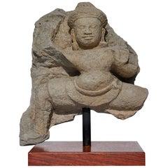 Khmer Sandstone Stele Schist of Buddha or Shiva, 12th Century