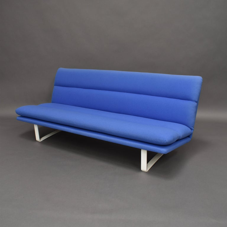 Three-seat sofa by Kho Liang Ie for Artifort- Netherlands, 1968 Model C684 The sofa is upholstered in blue Kvadrat Hallingdal wool fabric. It has some fading along the side, top and back and has some small stains (see images) but still remains in