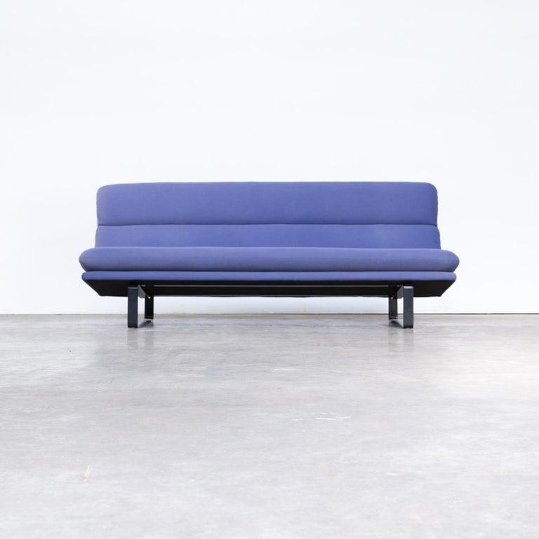 Artifort Design Bank.Kho Liang Ie C684 Wood And Blue Velvet Sofa For Artifort 60s For