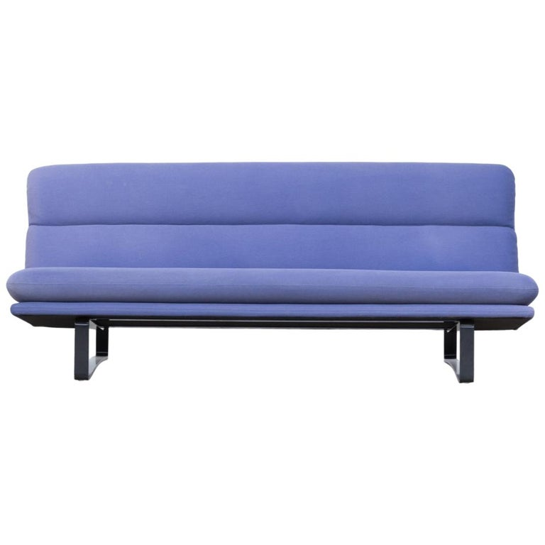 Kho Liang Ie C684 wood and blue velvet sofa for Artifort, 60s