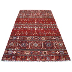 Khorjin Design Red Super Kazak Pictorial Hand Knotted 100% Wool Oriental Rug