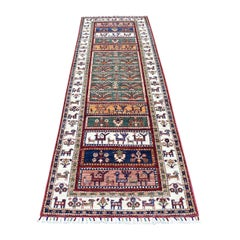 Khorjin Design Runner Red Super Kazak Pictorial Hand Knotted Pure Wool Oriental