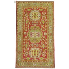 Khotan Bright Red Green Yellow Antique 20th Century Wool Handmade Oriental Rug