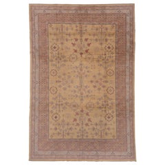 Khotan Design Rug, Yellow Field, Colorful Border, Pink Blue and Purple Accents