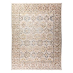 Khotan Hand Knotted Area Rug in Beige New Zealand Wool
