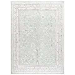 Khotan Hand-Knotted Patina Rug in Pale Green