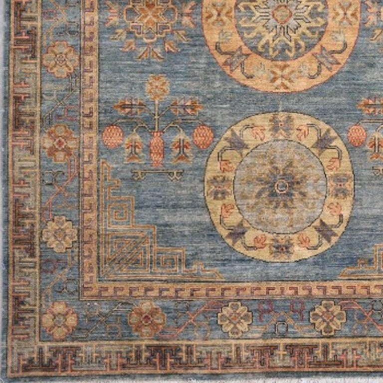 Afghan Khotan Rug Hand Knotted Blue Beige Copper Contemporary Wool Area Carpet For Sale