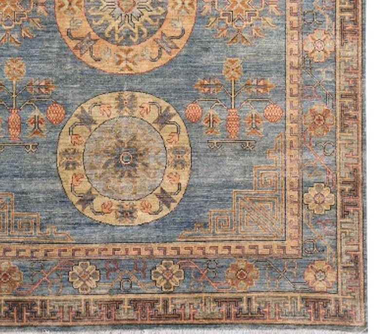 Khotan Rug Hand Knotted Blue Beige Copper Contemporary Wool Area Carpet In Excellent Condition For Sale In Lohr, Bavaria, DE