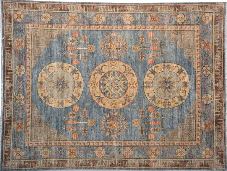 Khotan Rug Hand Knotted Blue Beige Copper Contemporary Wool Area Carpet For Sale 1
