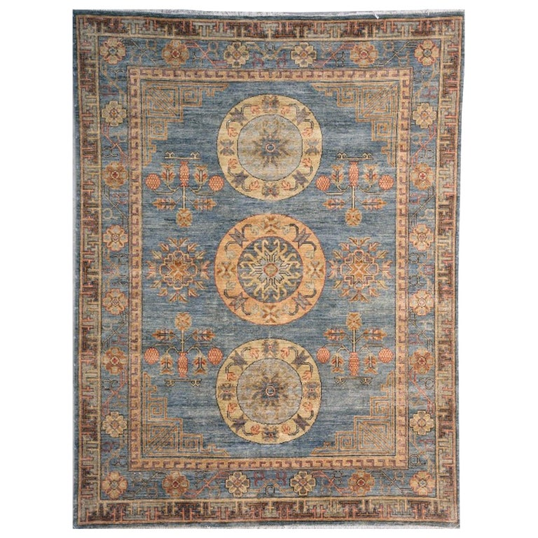 Khotan Rug Hand Knotted Blue Beige Copper Contemporary Wool Area Carpet For Sale