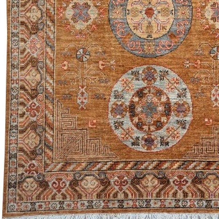 Afghan Khotan Style Rug Hand Knotted Contemporary Camel Colored Wool Area Carpet For Sale