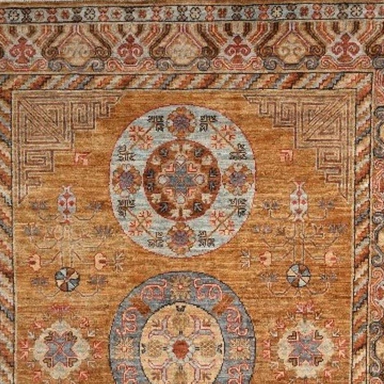 Hand-Knotted Khotan Style Rug Hand Knotted Contemporary Camel Colored Wool Area Carpet For Sale