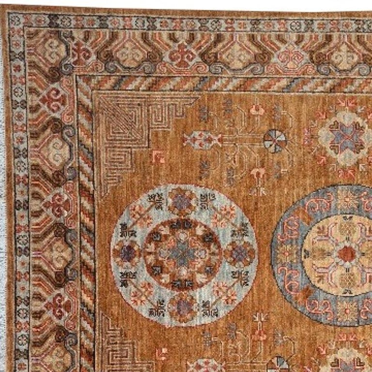Khotan Style Rug Hand Knotted Contemporary Camel Colored Wool Area Carpet In New Condition For Sale In Lohr, Bavaria, DE