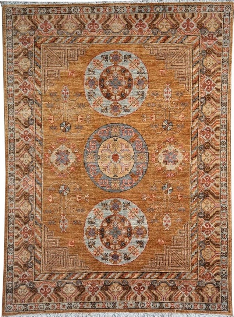 Khotan Style Rug Hand Knotted Contemporary Camel Colored Wool Area Carpet For Sale 1