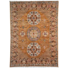 Khotan Style Rug Hand Knotted Contemporary Camel Colored Wool Area Carpet