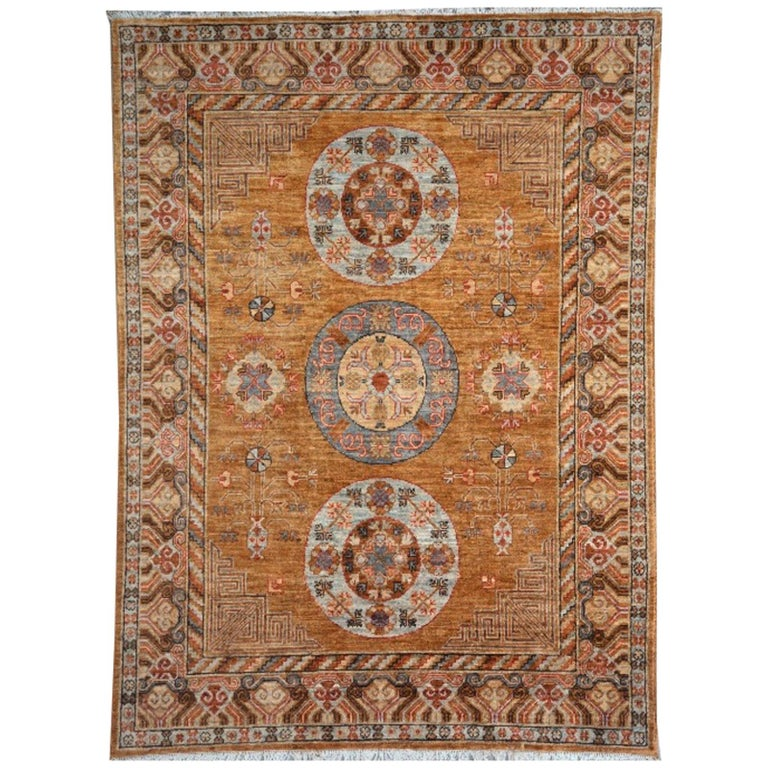 Khotan Style Rug Hand Knotted Contemporary Camel Colored Wool Area Carpet For Sale