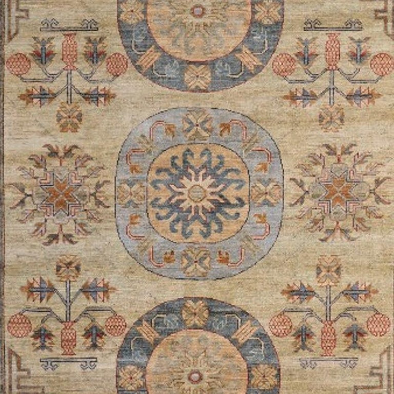 Afghan 7 x 9 ft Khotan Rug Hand Knotted Contemporary Wool Area Carpet beige brown blue For Sale