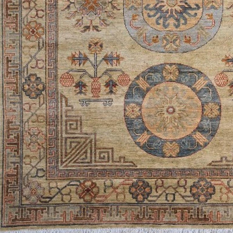 Hand-Knotted 7 x 9 ft Khotan Rug Hand Knotted Contemporary Wool Area Carpet beige brown blue For Sale