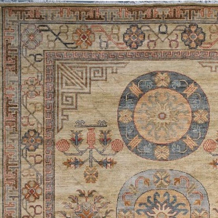 7 x 9 ft Khotan Rug Hand Knotted Contemporary Wool Area Carpet beige brown blue For Sale 1