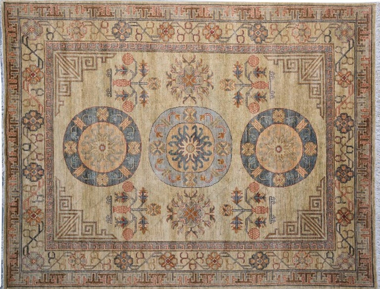 7 x 9 ft Khotan Rug Hand Knotted Contemporary Wool Area Carpet beige brown blue For Sale 2