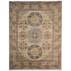 7 x 9 ft Khotan Rug Hand Knotted Contemporary Wool Area Carpet beige brown blue