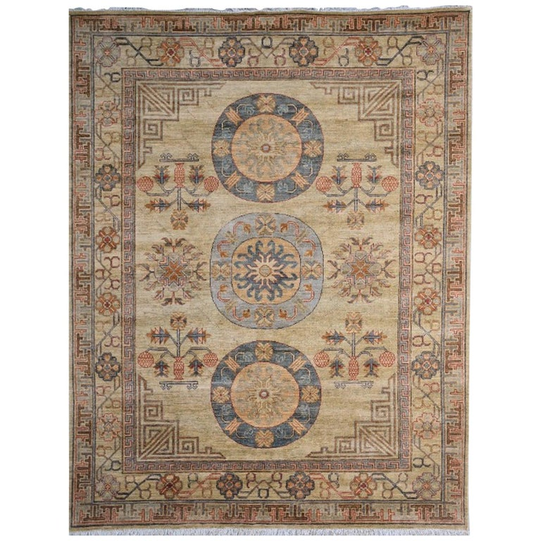 7 x 9 ft Khotan Rug Hand Knotted Contemporary Wool Area Carpet beige brown blue For Sale