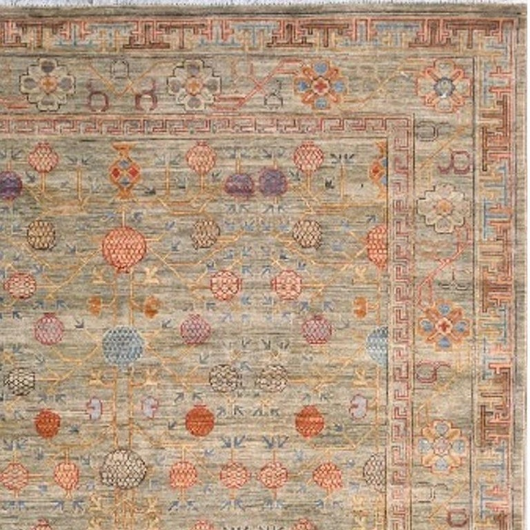 Afghan Khotan Style Rug Hand Knotted Pomegranate Tree Contemporary Wool Area Carpet For Sale