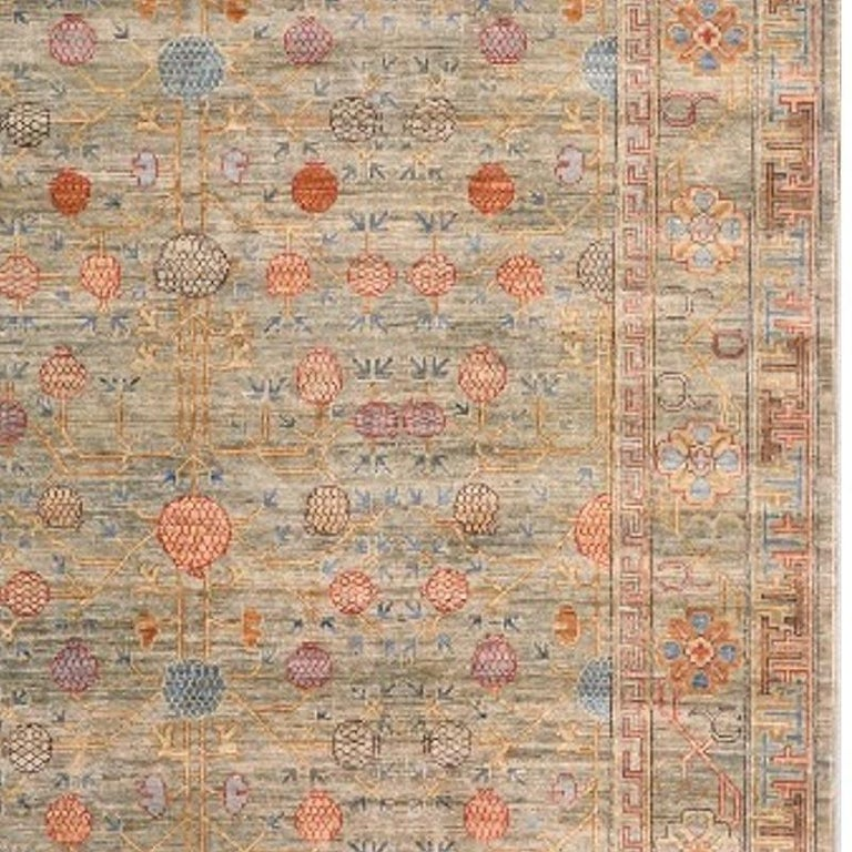 Hand-Knotted Khotan Style Rug Hand Knotted Pomegranate Tree Contemporary Wool Area Carpet For Sale