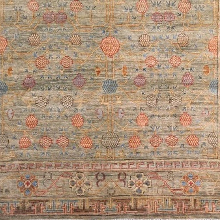 Khotan Style Rug Hand Knotted Pomegranate Tree Contemporary Wool Area Carpet In New Condition For Sale In Lohr, Bavaria, DE