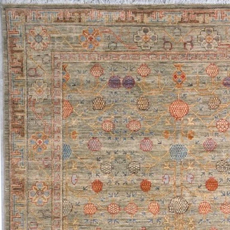 Khotan Style Rug Hand Knotted Pomegranate Tree Contemporary Wool Area Carpet For Sale 1
