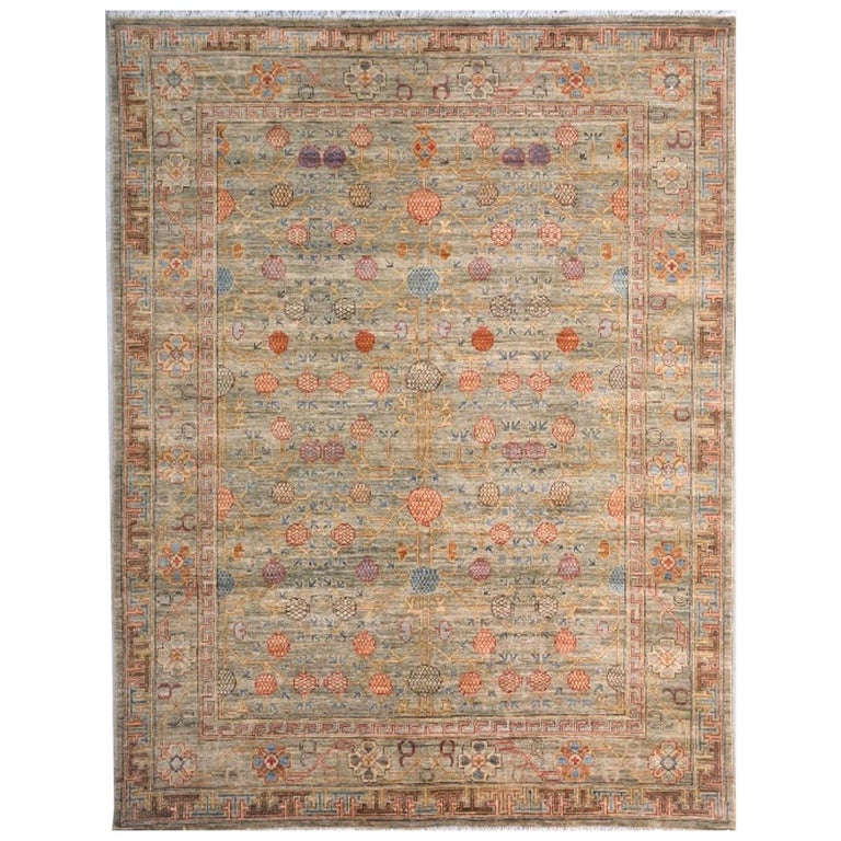 Khotan Style Rug Hand Knotted Pomegranate Tree Contemporary Wool Area Carpet For Sale