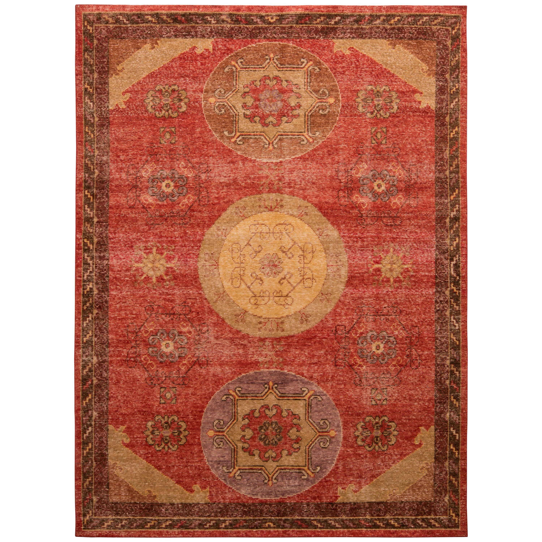 Rug & Kilim's Khotan Style Rug Distressed Red Beige Medallion Pattern