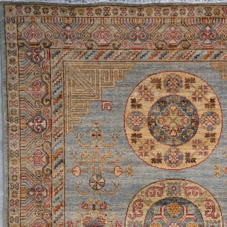 Afghan Khotan Style Rug Hand Knotted Contemporary Light Blue Wool Area Carpet For Sale