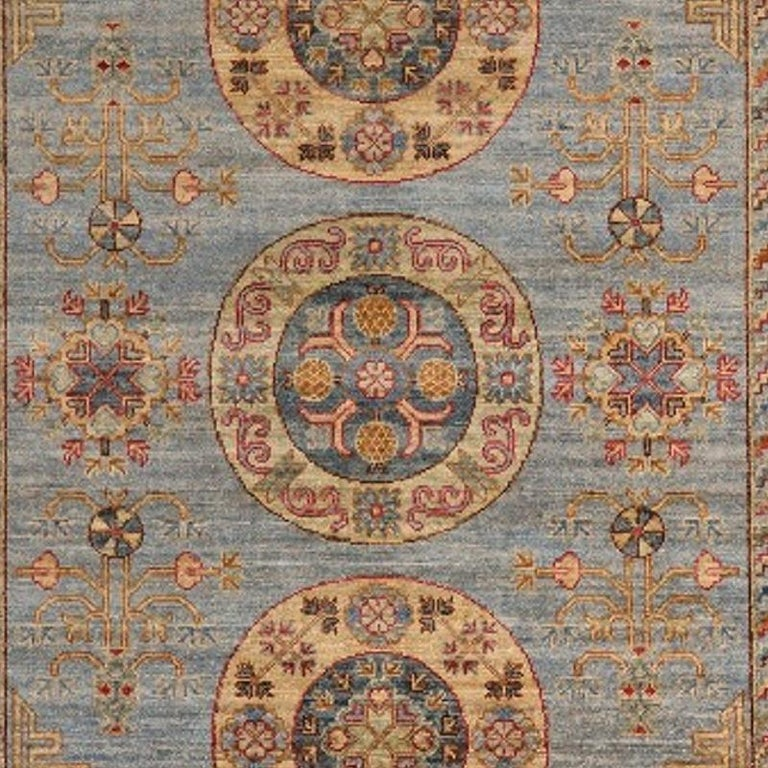 Hand-Knotted Khotan Style Rug Hand Knotted Contemporary Light Blue Wool Area Carpet For Sale